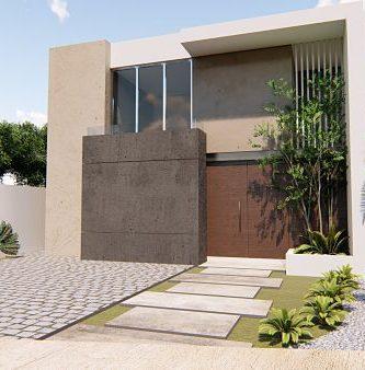 fachada de casa moderna de dos pisos cochera 2 vehiculos