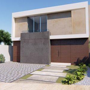 fachada de casa de dos pisos de 10 x 12 metros