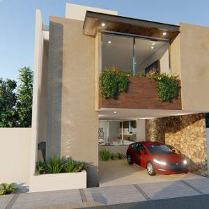 fachada de dos pisos con balcon