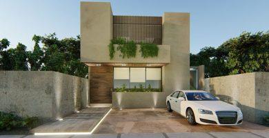 fachada bonita de dos pisos con balcon