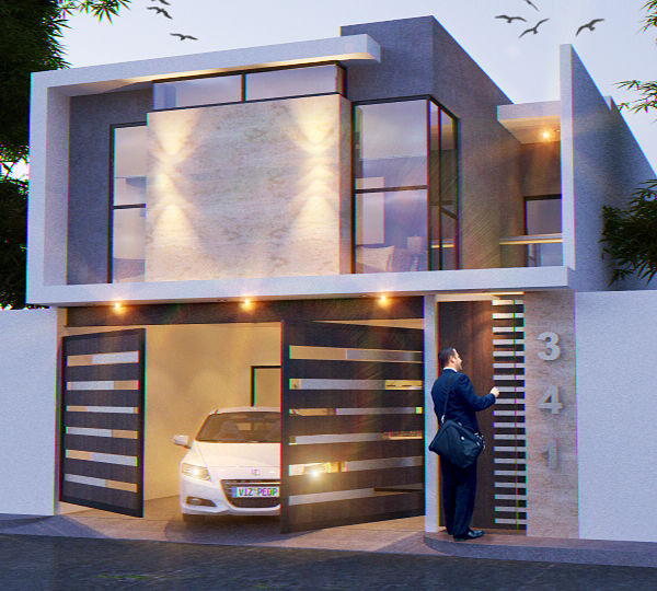 fachada de casa moderna y pequeña