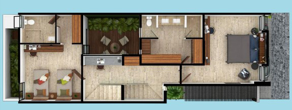 Plano de Casa de 6 x 20 planta alta