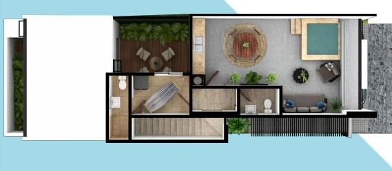 PLano de Casa de 6 x 20 con Roof
