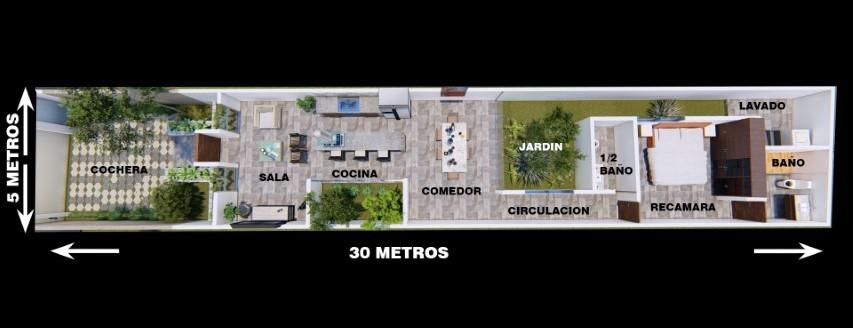 Plano de casa de 5 metros de ancho