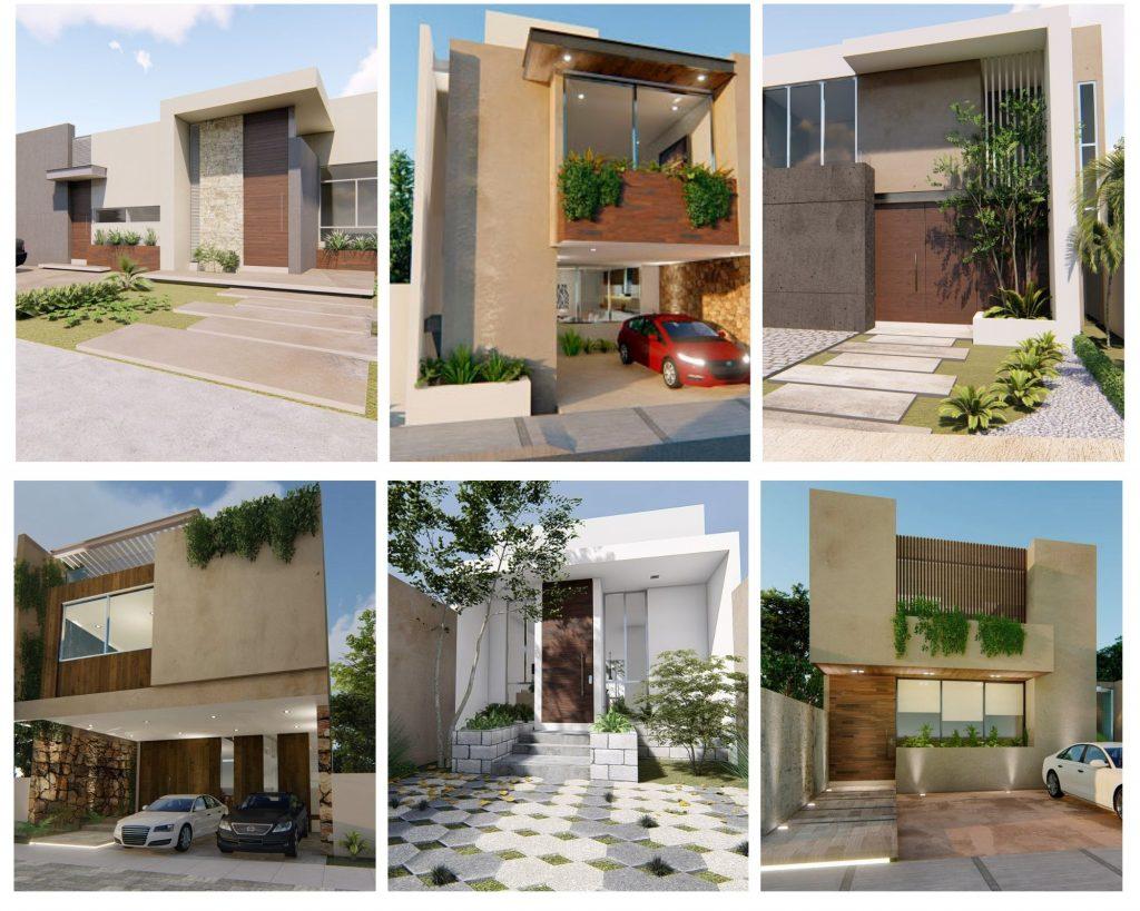 fachadas de casas bonitas de dos pisos